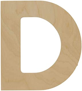 Wooden Letters - D - Unfinished 8 x 7 Inch Decorative Craft Monogram for Wedding Parties and Home Décor with Tool Free Adhesive Foam Squares for Hanging - by Woodpeckers