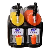 Maccol 110V 300W Home Machine 2.5Lx2 Double Tank Smoothie Maker, Mini Slushy Frozen Drink Machine with Powerful Compressor Quickly Making Slush Perfect for Frozen Margarita Ice Juice Coffee Alcoholic Beverages