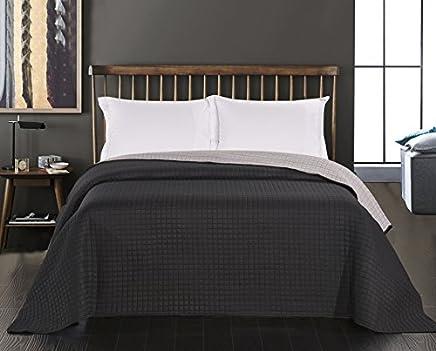 adbc1010c9 DecoKing grau Stahl anthrazit Tagesdecke zweiseitig Bettüberwurf  doppelseitig pflegeleicht Paul, Polyester, Graphit schwarz,