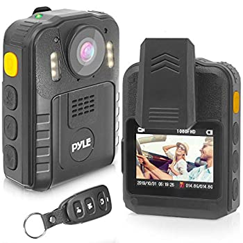 Police Security Video Body Camera - HD 2304x1296p 36MP Rechargeable Wireless Waterproof Wearable Law Enforcement Surveillance Cam Audio Video Recording Night Vision Motion Detector - Pyle PPBCM92