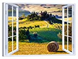LuxHomeDecor Quadro Finestra Paesaggio Toscana 100x75 cm Stampa su Tela con Telaio in Legno Arredamento Arte Arredo Moderno