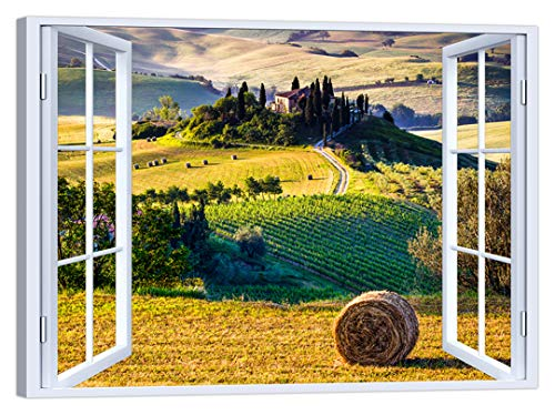LuxHomeDecor - Cuadro con Ventana de Paisaje Toscana, 100 x
