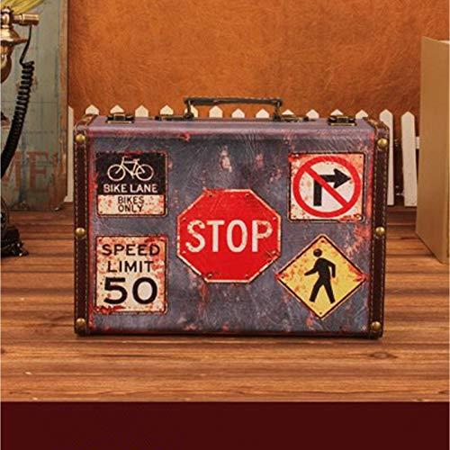 XINWANG Stilvolle Antike Holz Leder Gepäck Koffer Reise Kleine Kofferraum Brust Design Geschenkideen Für Weihnachten, Geburtstag, Mama, Oma,Small