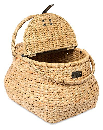 BirdRock Home Seagrass Picnic Basket - Hand Woven - Seagrass - Decorative Metal Latches - Divided Lid - Home Décor - Folding Handles