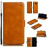 Docrax Galaxy Note8 / docomo SC-01K / au SCV37 ケース 手帳型 スタンド機能 財布型 カードポケット マグネット ギャラクシー ノート8 手帳型ケース レザーケース カバー - DOYTE010261 黄