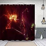 ZUL Wasserdichter Duschvorhang,Leo in den zwölf Sternbildern,Drucken von Badvorhängen mit 12 Haken 150x180cm