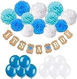 JUFENG Babyparty-Dekorationen Mit 12 Stück Papier Pom Poms Und 20 Stück Latexballons Für Die Taufe Babyparty Girlande Geburtstagsfeier Gefälligkeiten,Blue