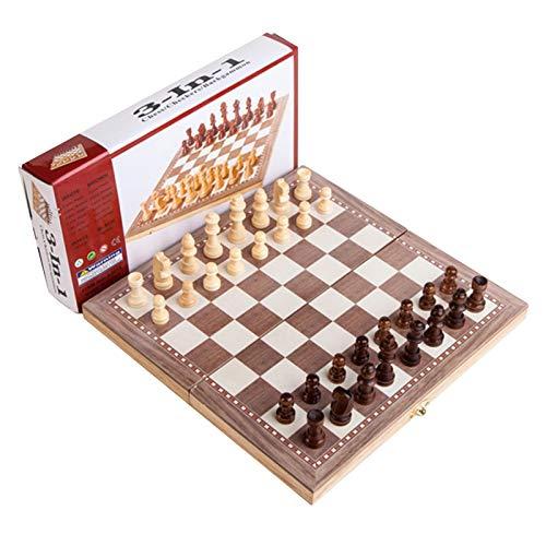 Juego de ajedrez, Juego de ajedrez de Madera, Juego de Backgammon, Juego de Tablero de ajedrez de Viaje Plegable portátil, Regalos para niños y Adultos