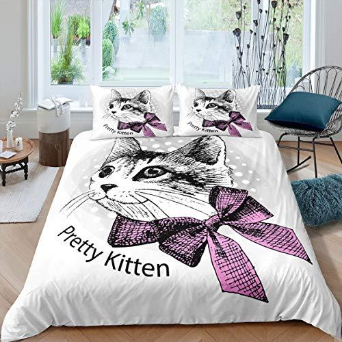 Pretty Kitten Juego de Funda de edredón para niños,niñas y Gato con Lazo Rosa y de Animales,Funda de edredón de Microfibra Suave,3 Piezas King