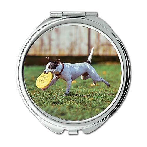 Espejo de maquillaje, adorable animal canina lindo perro domestico excitado, espejo de bolsillo, espejo portátil