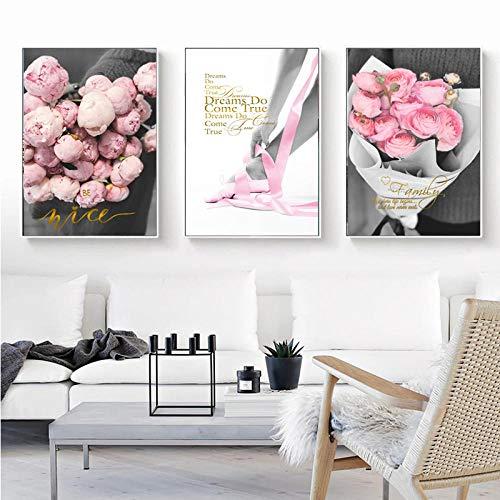 Cuadro de pared para el hogar con flores rosas, fotografía HD personalizable, cinta de ramo de rosas rosadas, póster de lienzo impreso de alta calidad