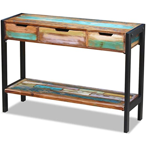 SHENGFENG Moderne commode met 3 laden, eetkamerkast, hout/staal, afmetingen: 110 x 35 x 78 cm