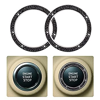 2 PCS Crystal Rhinestone Car Engine Start Stop Decoration Ring Car Bling Ring Crystal Car Stickers Rings Womens Car Decals Key Ignition Starter & Knob Ring  Black