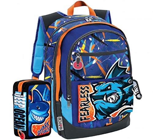 Gopop Schoolpack Zaino Scuola Abyss 43x31x17(+9) cm + Astuccio 3 Zip Completo