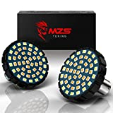 MZS 2' 1157 Turn Signal LED Bulb Running Light Kit Bullet Style w/Dual Color Front or Rear Compatible (21White + 27Amber) Most Family Motorcycles (Pack of 2)