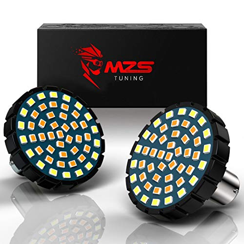 MZS 2' 1157 Turn Signal LED Bulb Running Light Kit Bullet Style w/Dual Color Front or Rear Compatible Motorcycles Harley Davidson (21White + 27Amber)