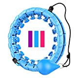 Weighted Hula Hoop Smart Hula Hoop for Adults Weight Loss Exercise 24 Detachable Knots Adjustable Weight Loss Hoola Hoops