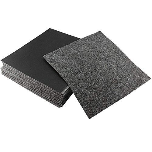 uyoyous Teppichfliesen Nadelfilz 50x50cm, (28 Fliesen = 7 m²) selbstklebend Teppichboden Bodenbelag Nadelfilz Fliesen Matte für Büro Home Fliesen (Dunkelgrau)