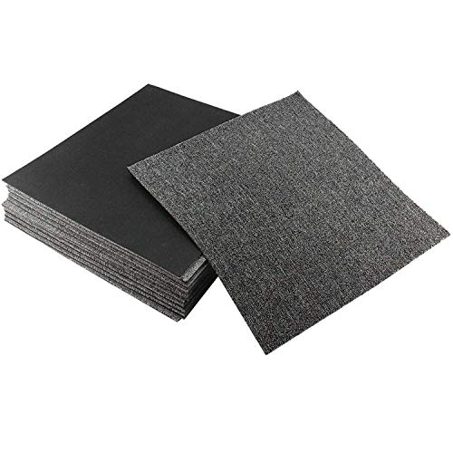 uyoyous Moqueta de fieltro punzonado, 50 x 50 cm, (28 baldosas = 7 m²), autoadhesiva, fieltro punzonado, para oficina, hogar, azulejos (gris oscuro)