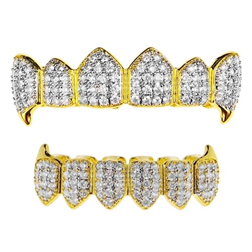 18k Gold Plated Vampire Fangs Two-Tone Grillz Set CZ Iced Bling Hip Hop Fang Teeth Grills