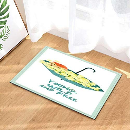 LoExTdAF Sombrilla. Flores Alfombrillas De Baño: 40Cmx60Cm. Vellón De Coral. Absorbente Antideslizante. Alfombra De Entrada para Cocina. Alfombra De Baño.