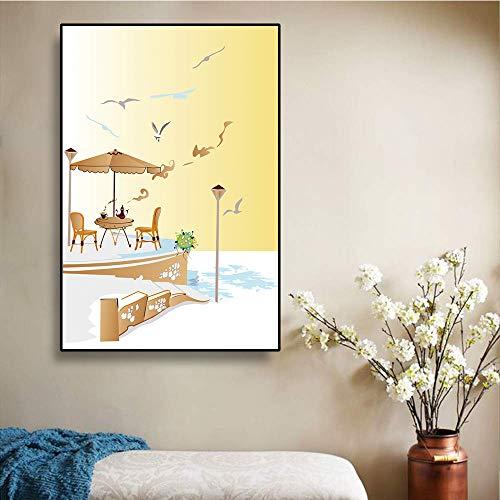 Abstract Seaside Landschap Canvas Schilderij Kunst Nordic Decoratieve posters en prints Kinderkamer Slaapkamerdecoratie Geschenken 40x60cm Geen