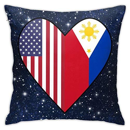 AEMAPE La Mitad de la Bandera de Filipinas, la Mitad de la Bandera de Estados Unidos, corazón de Amor (2), Funda de Almohada, Funda de cojín Cuadrada, sofá para el hogar, Decorativo, 40X40 Cm