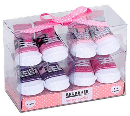 BRUBAKER - Chaussettes bébé - Lot de 4 Paires - Fille 0-12 Mois - Coffret cadeau Naissance/Baptême - Fun Sneaker/Baskets - Rose