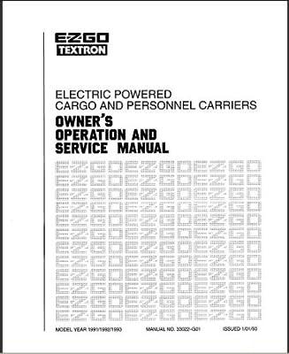 E-Z-GO 33022G01 1991-1994 Service Manual For Electric Golf