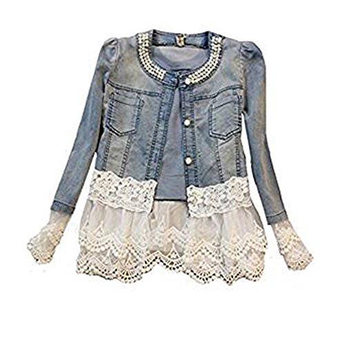 Damen Casual Denim Cute Spitze Short Jeans-Jacke Denim mit Jeansjacke (XXXXL, Blau)