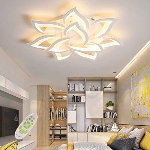 Lámpara de techo LED moderna regulable Lámpara de techo con diseño de forma de flor creativa Sala de estar Dormitorio Habitación infantil Lámpara, 10 cabezas / Ø85CM