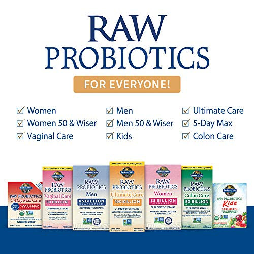Garden of Life Raw Daily Probiotics Ultimate Care 100 Billion CFU Shelf Stable Supplement Capsules for Women, Men and Adults, Digestive Enzymes, 30 Count