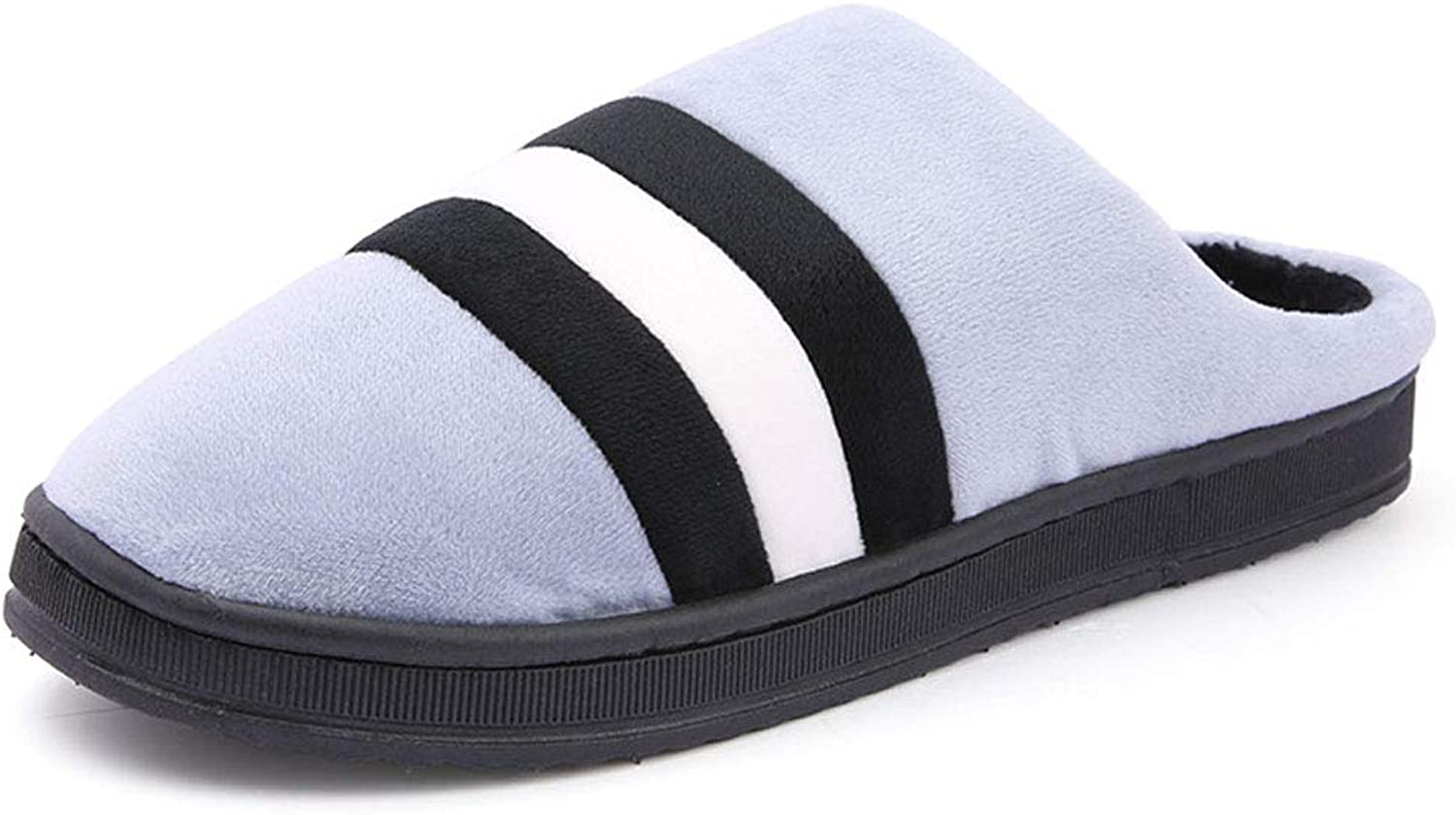 Winter Slippers Couple Men Women Indoor Soft Cotton Slippers Non-Slip Home Floor Striped Cotton shoes Comfortable Outdoor Warm shoes,bluee,40