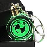 HEY KEYLA Llavero de Coche Emblema de Cristal Brillante Luz, 7 Colores Luz de Logo LED