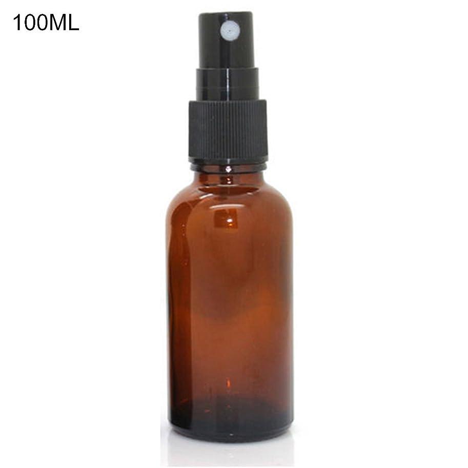 ちょうつがい雑草踏み台hamulekfae-化粧品綺麗5ミリリットル-100ミリリットル美容空琥珀色のガラス瓶エッセンシャルオイルミストスプレーコンテナケース - 100ミリリットル