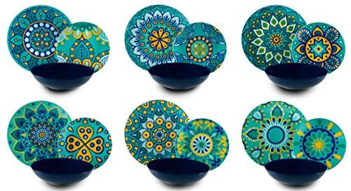 Excelsa Mandala Mediterraneo Servizio Piatti 18 Pezzi, Porcellana e Ceramica, Multicolore