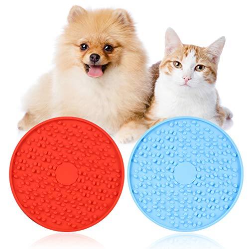 Moocuca Almohadilla para Lamer, 2 Piezas Almohadilla Lamer Perro para DuchaCompañero de Ducha para Mascotas, Mascotas Alimentador Lento, Puede Distraer a Las Mascotas (Azul y Rojo)