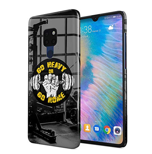 Gym Go Heavy Or Go Home Compatible with Huawei Mate 20 SnapOn Hard Plastic Phone Protective Case Cover