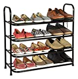 Benesta Multi-Purpose Steel Shoe Rack - (4 Tier, Black)