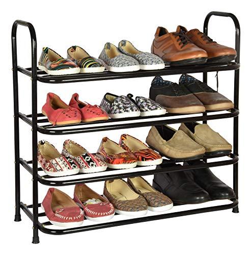 Benesta Multi-Purpose Steel Shoe Rack - (4 Tier, Black), Carbon Steel