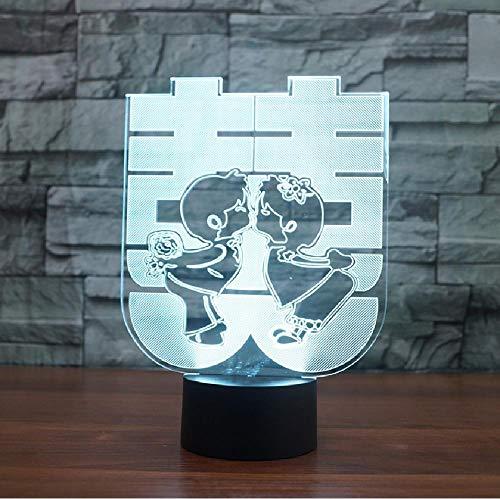 Double Happiness 3D tafellamp huwelijkscadeau in Chinese stijl 7 kleuren LED USB USB nachtlampje Lampara slaapkamer nachtkastje decor kleur mobiele app-afstandsbediening