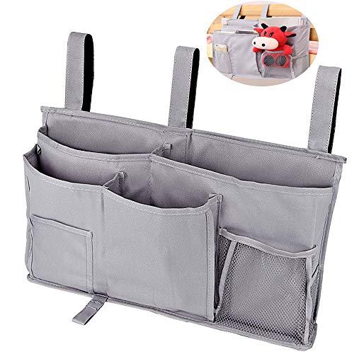 Organizador de mesita de noche para colgar debajo del colchón, múltiples bolsillos para tabletas, teléfono, mando a distancia, organizador de noche para literas y rieles de cama de hospital.
