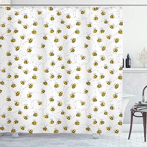 ABAKUHAUS Biene Duschvorhang, Einfache Gekritzel-Fliegen-Biene, mit 12 Ringe Set Wasserdicht Stielvoll Modern Farbfest & Schimmel Resistent, 175x200 cm, Gelb Weiß Braun