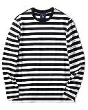 Zengjo Black and White Striped Shirt Men(S,Black&White Wide)