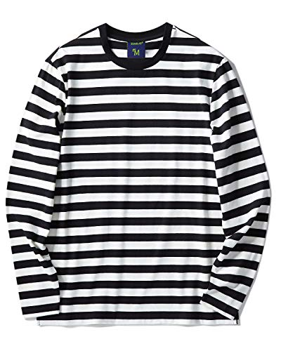 Zengjo Black and White Striped Shirt Men(M,Black&White Wide)