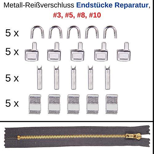Reißverschluss Reparatur Set für #5 Endstücke oben + unten, Ersatz Zubehör für Metall Reißverschlüsse, 5-Pack, Reißverschluss Stopper für oben und unten, für Anorak, Shorts, Koffer, Bekleidung