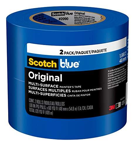ScotchBlue 2090-48WC2 Original Multi-Surface Painter's Tape, 1.88 inch x 60 Yard, 2 Rolls, 1.88' Width, Blue