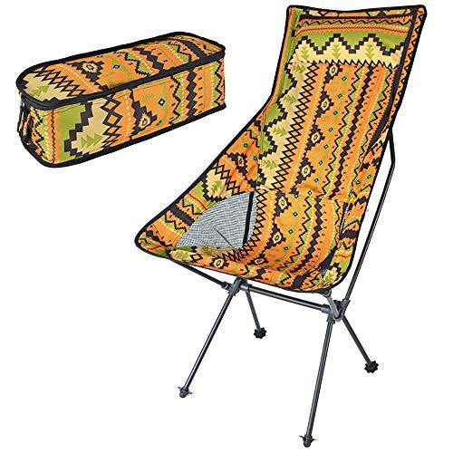 BYBYC Respaldo Silla de Playa Senderismo Pesca Silla Plegable Portable al Aire Libre sillas Ligeras con Mochila de campaña, con Bolsa de Transporte,Amarillo