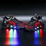 DTZW Zapatillas de Deporte con luz LED Intermitente, para niños y niñas, Estilo araña, Informales, Ligeras, Transpirables(Size:34,Color:Negro)