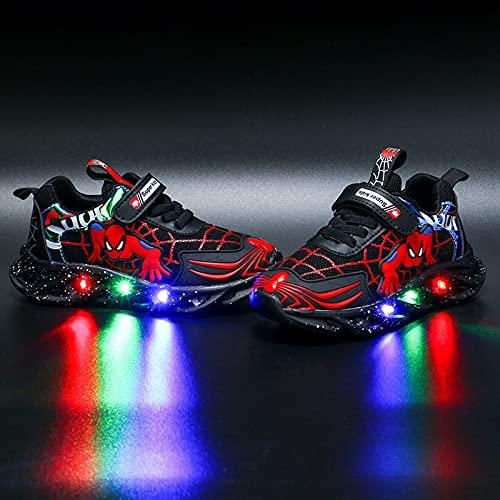 Barn LED upplysbara träningsskor blinkande skor pojkar flickor spindelskor ledig lätt andningsbara sneaker(Size:24,Color:Svart)